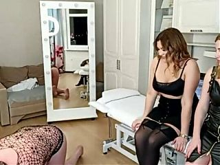 Two hotties invited a sex slave and decided to play with him